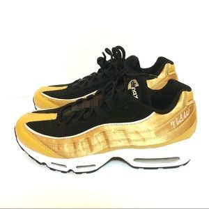 Nike Air Max 95 LX Womens Satin Gold Black 9.5 New